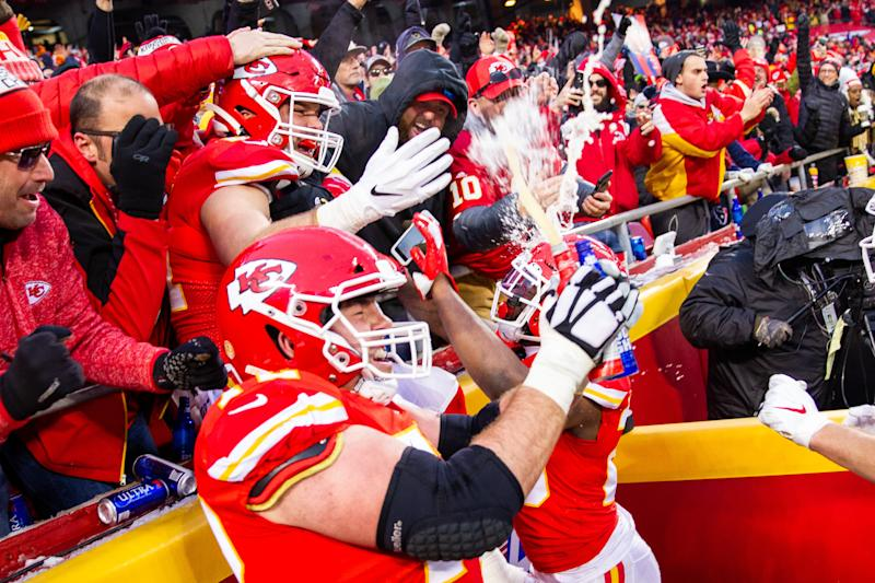 NFL fines Chiefs' Eric Fisher for Stone Cold beer celebration