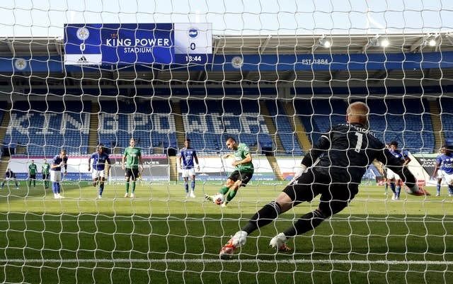 Maupay missed his penalty (Andrew Boyers/NMC Pool/PA)
