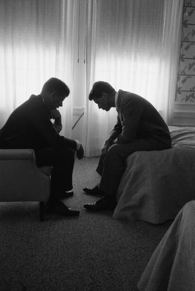 <p>Presidential candidate John F. Kennedy meeting with his brother and campaign organizer Robert Kennedy.</p>