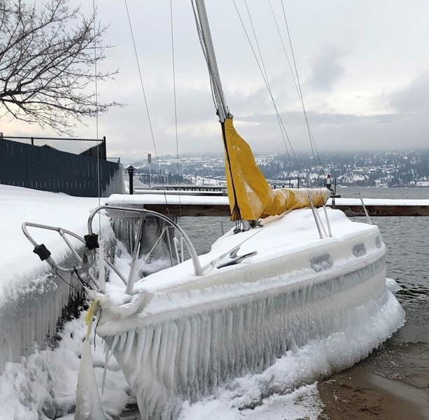 Police look for owner of ice-covered boat found on B.C.'s Okanagan Lake