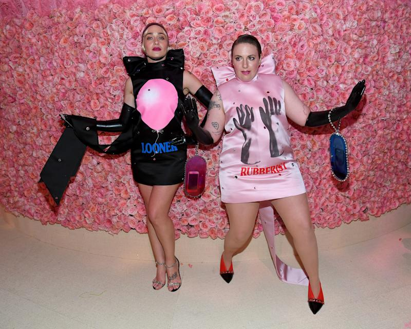 NEW YORK, NEW YORK - MAY 06: Jemima Kirke and Lena Dunham attend The 2019 Met Gala Celebrating Camp: Notes on Fashion at Metropolitan Museum of Art on May 06, 2019 in New York City. (Photo by Kevin Mazur/MG19/Getty Images for The Met Museum/Vogue)