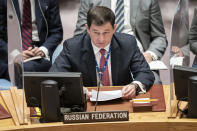 Dmitry Polyanskiy, first deputy permanent representative of Russia to the United Nations, speaks during a meeting of the United Nations Security Council, Thursday, Sept. 23, 2021, during the 76th Session of the U.N. General Assembly in New York. (AP Photo/John Minchillo, Pool)