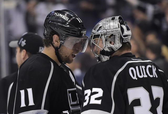 Los Angeles Kings center Anze Kopitar, left, of Slovenia, congratulates goalie Jonathan Quick after the\ Kings defeated the San Jose Sharks 4-1 in Game 6 of an NHL hockey first-round playoff series, Monday, April 28, 2014, in Los Angeles. (AP Photo)