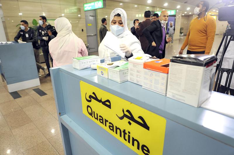 A quarantine area set up at Cairo airport last month. There has since been two confirmed cases of coronavirus in the country. Source: Getty