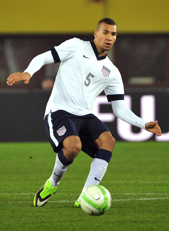 FILE-- In a Nov. 19, 2013, file photo US national soccer team player John Brooks is seen during the friendly soccer match between Austria and United States in Vienna, Austria. U.S. team coach Jurgen Klinsman named Brooks to the team's 30-man preliminary roster on Monday May 12, 2014. (AP Photo/Hans Punz, file)