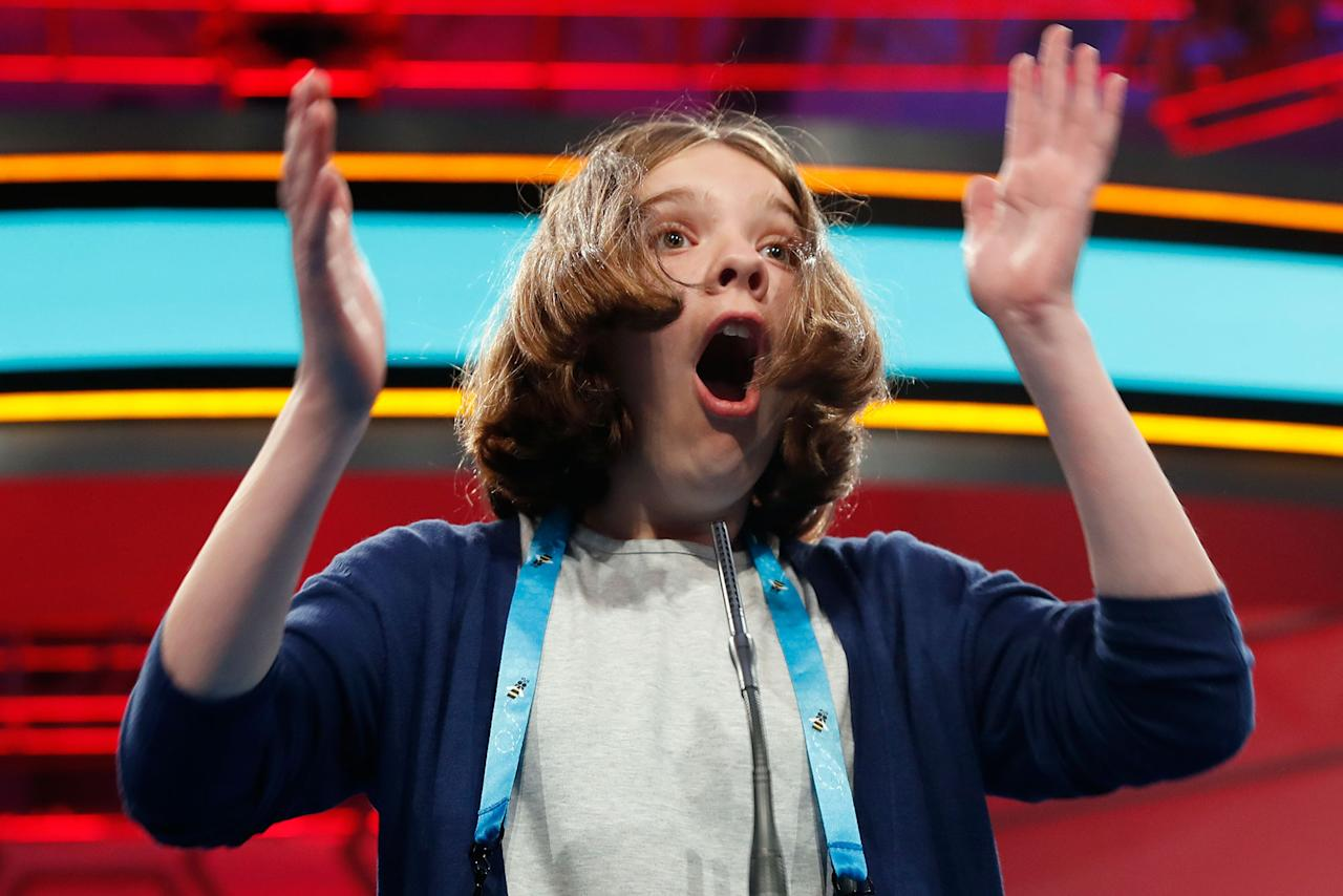 <p>Erin Howard, 12, from Huntsville, Ala., reacts after spelling her word correctly during the 90th Scripps National Spelling Bee, Thursday, June 1, 2017, in Oxon Hill, Md. (AP Photo/Alex Brandon) </p>