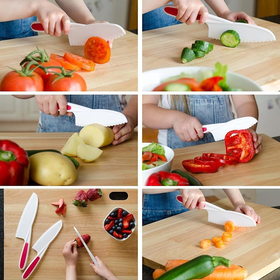 """Give your little sous chef the ability to chop till they drop (without hurting any of their adorable digits).<br /><br /><strong>Promising review:</strong>""""My 2-year-old was desperate to join me in the kitchen and I wanted to be sure she was safe. These knives come in three sizes.<strong>They are not sharp to the touch but easily cut through most fruits and vegetables!</strong>For denser foods like carrots she needed a bit of assistance, but she was quickly chopping all of the asparagus for dinner!!! We just got these so I can't speak to durability, but for the price these seem like a great value for my little chef!"""" —<a href=""""https://www.amazon.com/dp/B075BJMFF8?tag=huffpost-bfsyndication-20&ascsubtag=5871416%2C16%2C27%2Cd%2C0%2C0%2C0%2C962%3A1%3B901%3A2%3B900%3A2%3B974%3A3%3B975%3A2%3B982%3A2%2C16385828%2C0"""" target=""""_blank"""" rel=""""noopener noreferrer"""">Nicholas and Zarya Fogelson</a><br /><strong><br />Get it from Amazon for<a href=""""https://www.amazon.com/dp/B075BJMFF8?tag=huffpost-bfsyndication-20&ascsubtag=5871416%2C16%2C27%2Cd%2C0%2C0%2C0%2C962%3A1%3B901%3A2%3B900%3A2%3B974%3A3%3B975%3A2%3B982%3A2%2C16385828%2C0"""" target=""""_blank"""" rel=""""noopener noreferrer"""">$8.95</a>.</strong>"""