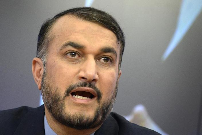 Iran's Deputy Foreign Minister Hossein Amir Abdollahian speaks at a press conference about the crisis in Iraq and the situation in the Middle East in Moscow on July 1, 2014 (AFP Photo/Alexander Nemenov)
