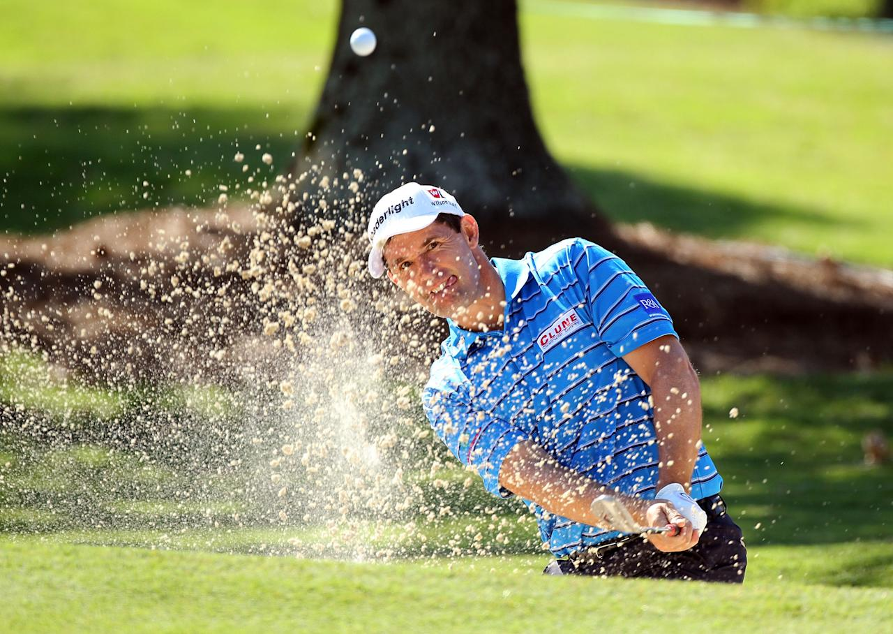 MEMPHIS, TN - JUNE 07:  Padraig Harrington of Ireland hits his third shot on the par 5 16th hole during the first round of the FedEx St. Jude Classic at TPC Southwind on June 7, 2012 in Memphis, Tennessee.  (Photo by Andy Lyons/Getty Images)