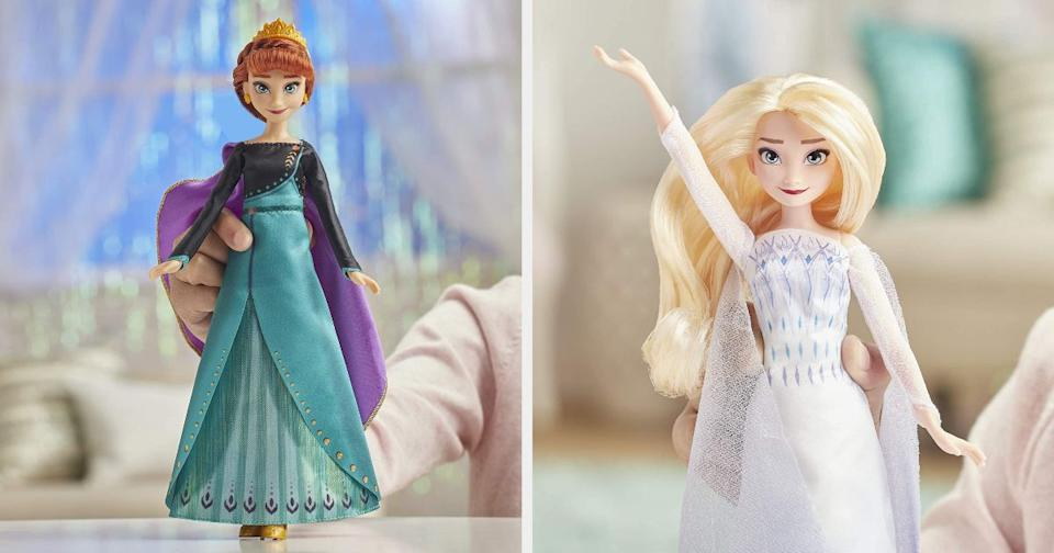 """Anna belts out """"Some Things Never Change"""" and Elsa sings """"Show Yourself."""" At least you can give the TV a rest (but not your ears).<br /><br /><strong>Promising reviews:</strong>""""Daughter absolutely loves it! It's a beautiful doll, a lovely dress, and a nice singing clip from the film. Worth the wait for all those (like us) who had been holding out for this version of Elsa."""" —<a href=""""https://www.amazon.com/dp/B07Y2P9J64?tag=huffpost-bfsyndication-20&ascsubtag=5709944%2C13%2C32%2Cd%2C0%2C0%2C0%2C962%3A1%3B901%3A2%3B900%3A2%3B974%3A3%3B975%3A2%3B982%3A2%2C13752216%2C0"""" target=""""_blank"""" rel=""""noopener noreferrer"""">arzneitrank</a><br /><br />""""I was very upset when I first purchased this because it had just a short song sample. I tested it in the box before giving it to my niece for her birthday and was furious when there was only a five-second song sample...turns out there is a switch on the back for demo mode."""" --<a href=""""https://www.amazon.com/dp/B07Y2NXWNP?tag=huffpost-bfsyndication-20&ascsubtag=5709944%2C13%2C32%2Cd%2C0%2C0%2C0%2C962%3A1%3B901%3A2%3B900%3A2%3B974%3A3%3B975%3A2%3B982%3A2%2C13752205%2C0"""" target=""""_blank"""" rel=""""noopener noreferrer"""">JF</a><br /><br /><strong>Get them from Amazon: Anna for <a href=""""https://www.amazon.com/dp/B07Y2NXWNP?tag=huffpost-bfsyndication-20&ascsubtag=5709944%2C13%2C32%2Cd%2C0%2C0%2C0%2C962%3A1%3B901%3A2%3B900%3A2%3B974%3A3%3B975%3A2%3B982%3A2%2C13752205%2C0"""" target=""""_blank"""" rel=""""noopener noreferrer"""">$16.99</a> and Elsa for <a href=""""https://www.amazon.com/dp/B07Y2P9J64?tag=huffpost-bfsyndication-20&ascsubtag=5709944%2C13%2C32%2Cd%2C0%2C0%2C0%2C962%3A1%3B901%3A2%3B900%3A2%3B974%3A3%3B975%3A2%3B982%3A2%2C13752216%2C0"""" target=""""_blank"""" rel=""""noopener noreferrer"""">$19.88</a>.</strong>"""
