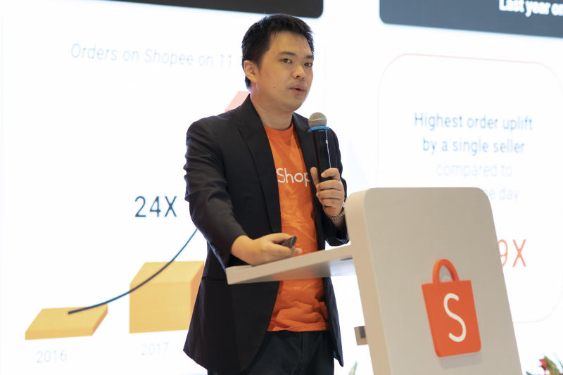 Shopee CEO Chris Feng speaks about the 11.11 event. (PHOTO: Don Wong for Yahoo News Singapore)