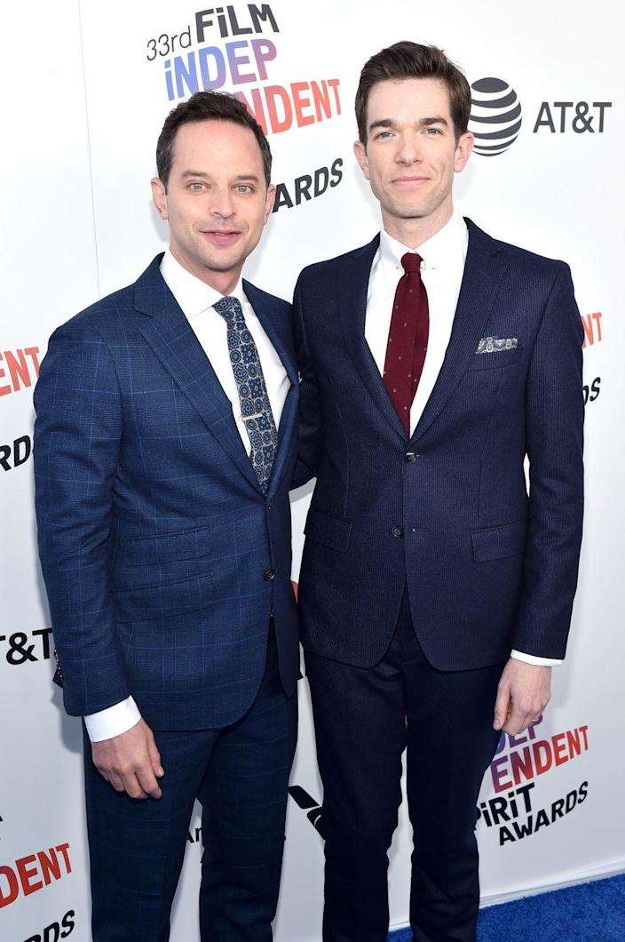 """<p>Fellow funnymen Nick Kroll and John Mulaney linked up while attending Georgetown University in 2000; Kroll was the upperclassman responsible for recruiting Mulaney into the hallowed Georgetown Improv Association. </p><p>When Kroll met Mulraney, he just knew that there was something special about him. """"Honestly when I met him, I was like, this guy's so funny, I'm going to hold on tight,"""" Kroll told <em><a href=""""https://www.washingtonpost.com/news/arts-and-entertainment/wp/2017/11/01/a-failed-sitcom-could-end-your-career-for-john-mulaney-it-was-just-the-beginning/"""" rel=""""nofollow noopener"""" target=""""_blank"""" data-ylk=""""slk:The Washington Post"""" class=""""link rapid-noclick-resp"""">The Washington Post</a></em>. """"I've sufficiently done that for a long time,"""" Kroll says. Their friendship has since grown into what many would describe as a lifetime professional partnership, leading the comedians to work together on numerous projects such as the beloved """"Oh, Hello Show"""" on Kroll's Comedy Central series (which later turned into a Broadway show) as well as Netflix's adult animated comedy <em>Big Mouth</em>. </p>"""
