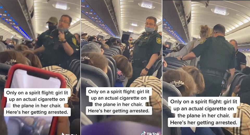 Screenshots from the TikTok video showing officers on board the flight escorting the woman from her seat.