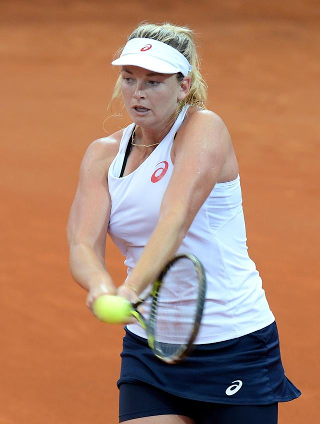 BRISBANE, AUSTRALIA - APRIL 17: Coco Vandeweghe of the USA plays a backhand during her match against Samantha Stosur of Australia in the Fed Cup tie between Australia and the United States at Pat Rafter Arena on April 17, 2016 in Brisbane, Australia. (Photo by Bradley Kanaris/Getty Images)