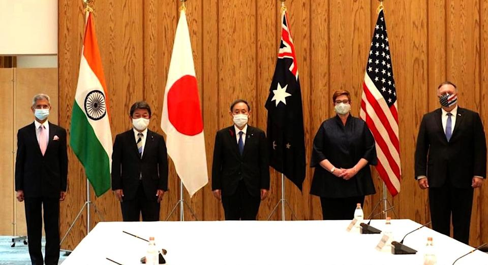 Image of QUAD leaders at the dialogue in Japan in 2020.
