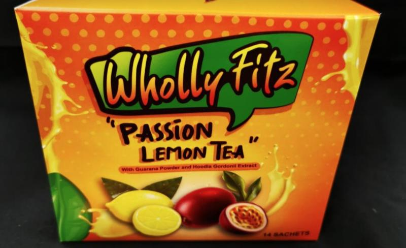 Wholly Fitz Passion Lemon Tea was found to have banned substance sibutramine by the HSA. (PHOTO: Health Sciences Authority)