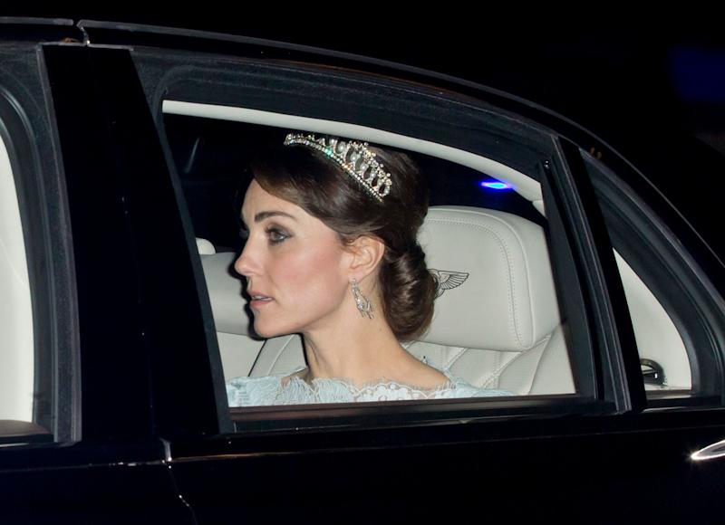 Kate paid a touching tribute to her late mother-in-law Princess Diana when she wore her tiara to the annual Diplomatic Reception at Buckingham Palace on December 8, 2015.