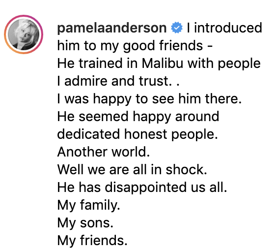 (Screenshots: Pamela Anderson via Instagram)