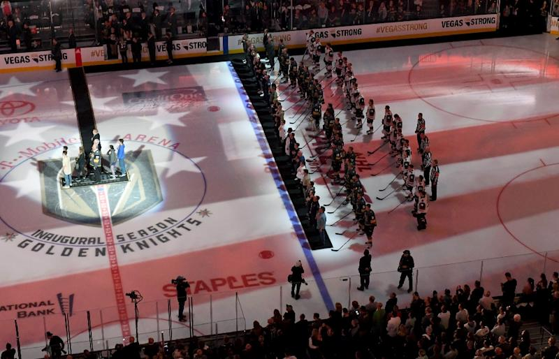 Vegas hockey team honors victims of shooting