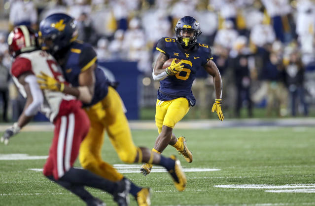 West Virginia running back Kennedy McKoy's big run against Oklahoma was negated by a controversial penalty. (Reuters/USA Today Sports)