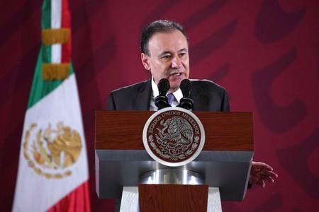 Mexico's Security Minister Alfonso Durazo speaks during Mexico's President Andres Manuel Lopez Obrador daily news conference at National Palace in Mexico City