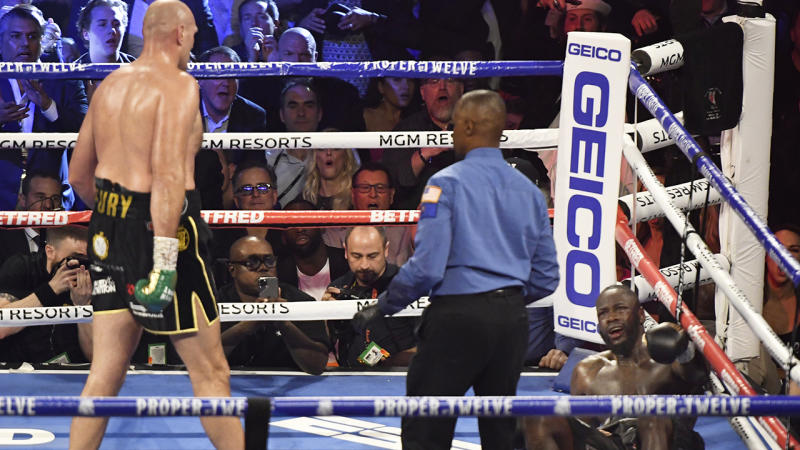 Tyson Fury, pictured here dominating Deontay Wilder in their heavyweight title fight.