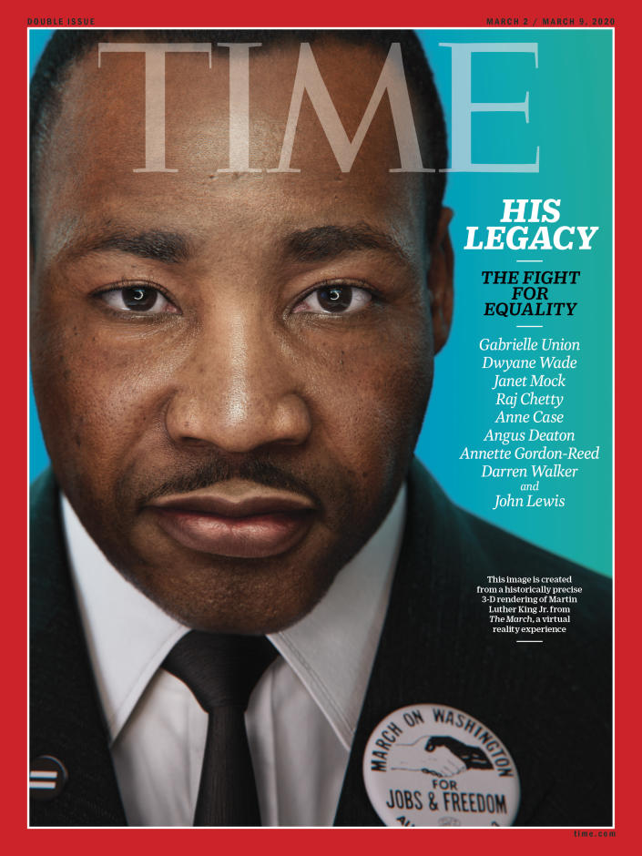 This image is created from a historically precise 3-D rendering of Martin Luther King Jr. from The March, a virtual reality experience | Portrait for TIME by Hank Willis Thomas and Digital Domain