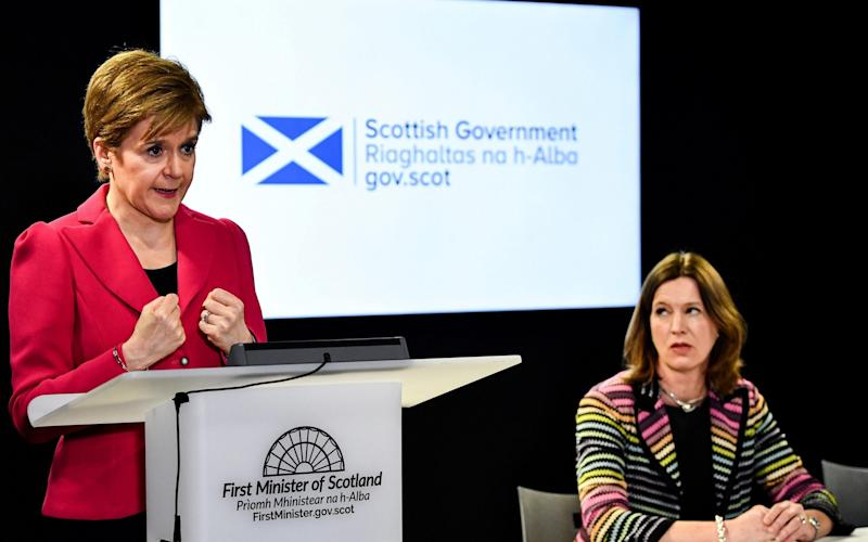 Nicola Sturgeon with Dr Catherine Calderwood, Scotland's former chief medical officer - Reuters