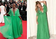 <p>Naturally, both stars slayed in this plunging Gucci number. Lupita wore the dress first, to Cannes Film Festival in 2015, and Beyonce in March 2017 - to the premiere of 'Beauty and the Beast'. <i>[Photo: PA/Beyonce.com]</i></p>