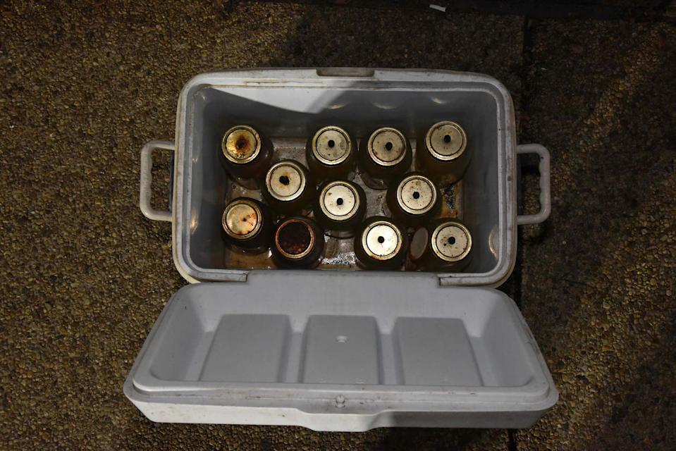 Police determined the jars of liquid found in Lonnie Coffman's truck were Molotov cocktails. (U.S. Capitol Police)