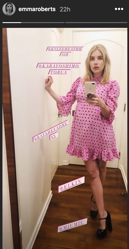 Emma Roberts Stuns in a Baby Doll Dress for New Pregnancy Selfies