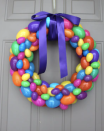"""<p>Instead of hiding some of this year's plastic eggs, use them to make a vivid wreath! It's guaranteed to make your front door stand out. </p><p><strong>Get the tutorial at <a href=""""https://nataliastyleblog.com/diy-easter-egg-wreath/"""" rel=""""nofollow noopener"""" target=""""_blank"""" data-ylk=""""slk:Nataliastyle"""" class=""""link rapid-noclick-resp"""">Nataliastyle</a>.</strong></p><p><a class=""""link rapid-noclick-resp"""" href=""""https://go.redirectingat.com?id=74968X1596630&url=https%3A%2F%2Fwww.walmart.com%2Fip%2FEaster-eggs-6-Color-plastic-Easter-Eggs-3-5-Inch-Pack-of-36%2F811610309&sref=https%3A%2F%2Fwww.thepioneerwoman.com%2Fhome-lifestyle%2Fcrafts-diy%2Fg35698457%2Fdiy-easter-wreath-ideas%2F"""" rel=""""nofollow noopener"""" target=""""_blank"""" data-ylk=""""slk:SHOP PLASTIC EGGS"""">SHOP PLASTIC EGGS</a></p>"""