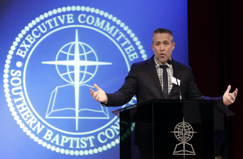 """FILE - In this Monday, Feb. 18, 2019 file photo, Southern Baptist Convention President J.D. Greear speaks to the denomination's executive committee in Nashville, Tenn., after a newspaper investigation revealed hundreds of sexual abuse cases by Southern Baptist ministers and lay leaders over the past two decades. In his opening speech to the 2021 executive committee meeting, he said, """"We should mourn when closet racists and neo-Confederates feel more at home in our churches than do many of our people of color."""" (AP Photo/Mark Humphrey)"""