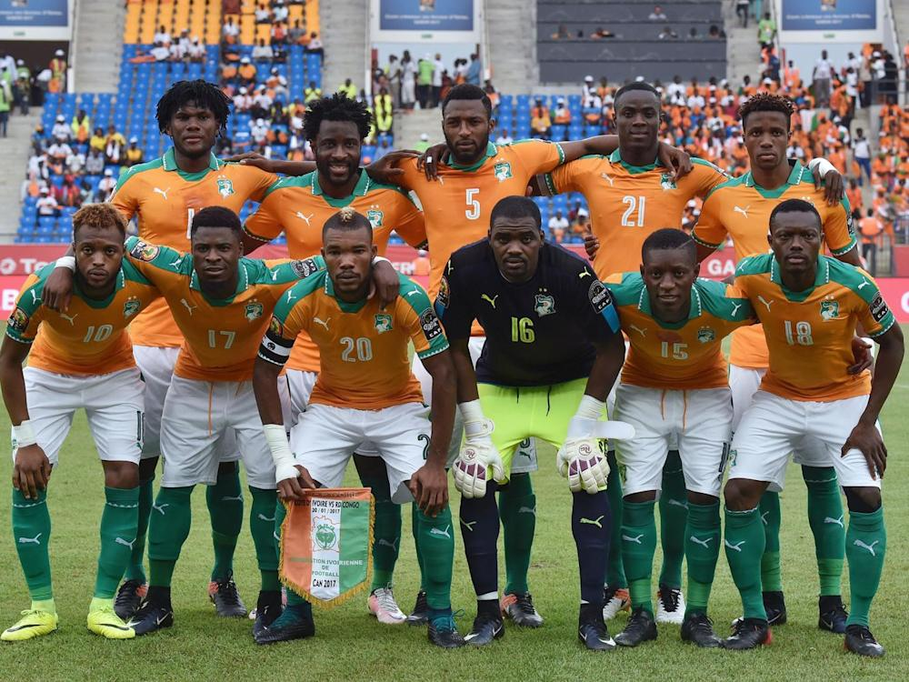 Zaha (top right) with his Cote d'Ivoire team-mates (AFP/Getty)