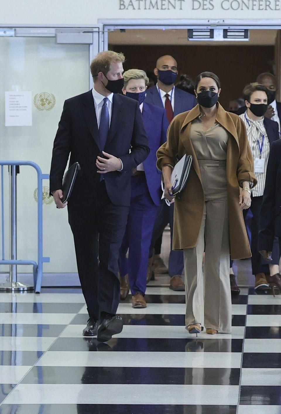 <p>The Duke and Duchess of Sussex visited the UN to meet with the UN deputy secretary-general Amina Mohammed. </p>