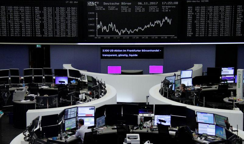 The German share price index, DAX board, is seen at the stock exchange in Frankfurt, Germany, November 6, 2017. REUTERS/Staff/Remote