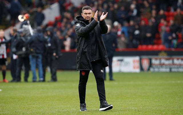 "Soccer Football - Championship - Sheffield United vs Leeds United - Bramall Lane, Sheffield, Britain - February 10, 2018 Leeds United Manager Paul Heckingbottom applauds fans after the match Action Images/Craig Brough EDITORIAL USE ONLY. No use with unauthorized audio, video, data, fixture lists, club/league logos or ""live"" services. Online in-match use limited to 75 images, no video emulation. No use in betting, games or single club/league/player publications. Please contact your account representative for further details."