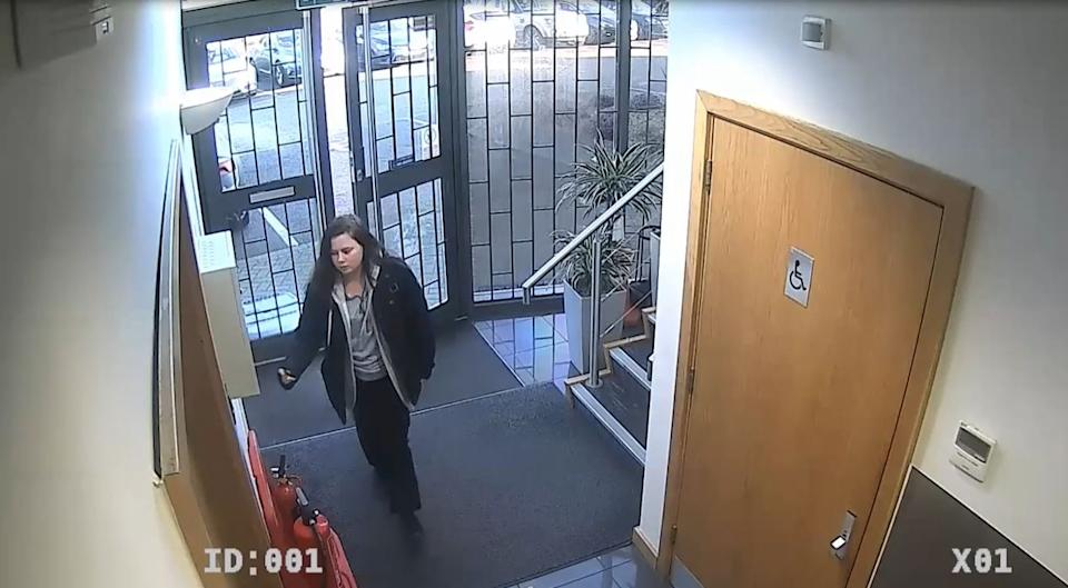 CCTV footage shows Leah Croucher arriving for work the day before she went missing in February 2019 (Picture: PA)