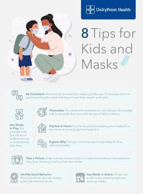 Whether it's face masks at school or other activities, it's best to practice now. UnityPoint Health has 8 ways to help kids adjust to wearing face masks.