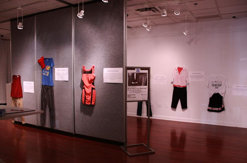 "A photo of the ""What Were You Wearing?"" gallery at the University of Kansas."