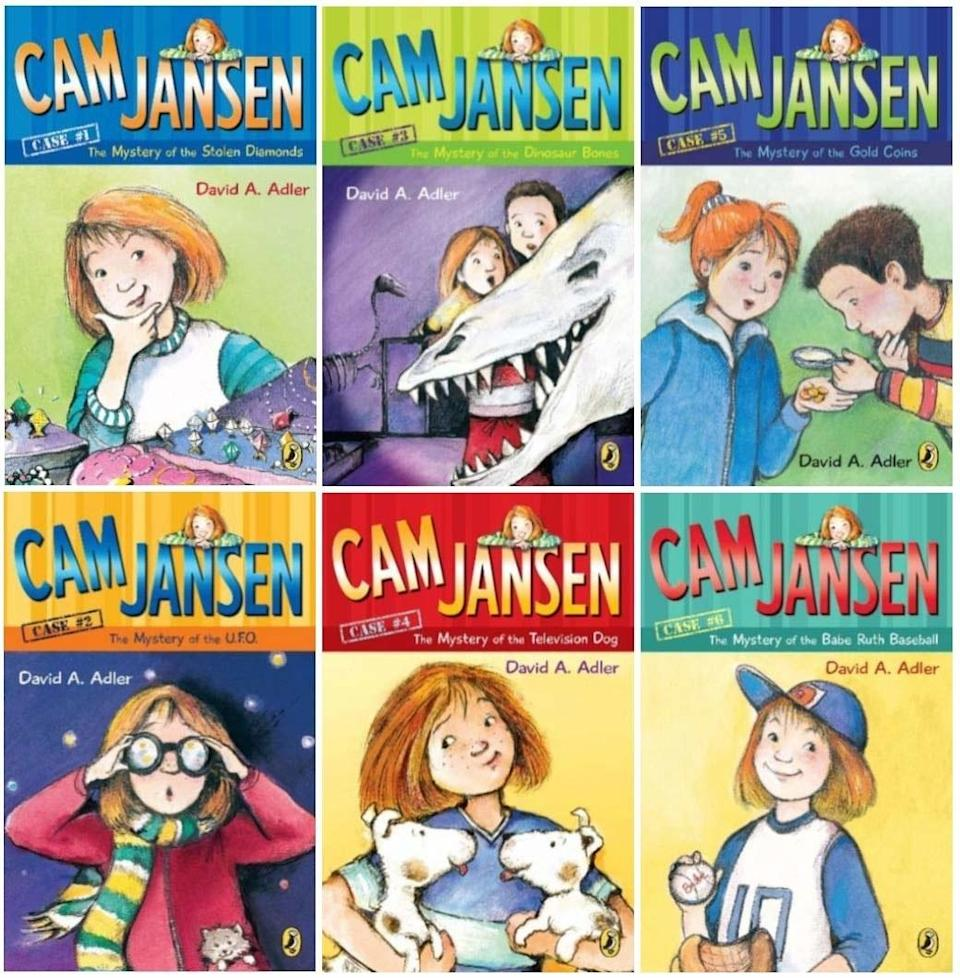 Collage of Cam Jansen books by David A. Adler, six covers featuring the titular character, a young girl with red hair