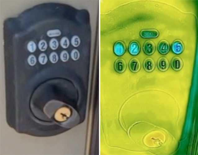Thermal imaging technology used via a smartphone can even reveal PINs used on door locks. Photo: 7News