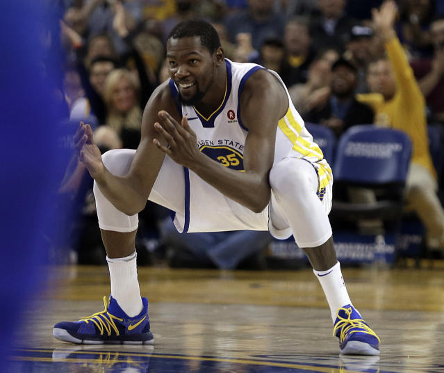 "<a class=""link rapid-noclick-resp"" href=""/nba/players/4244/"" data-ylk=""slk:Kevin Durant"">Kevin Durant</a> prepares himself for what comes next. (AP)"