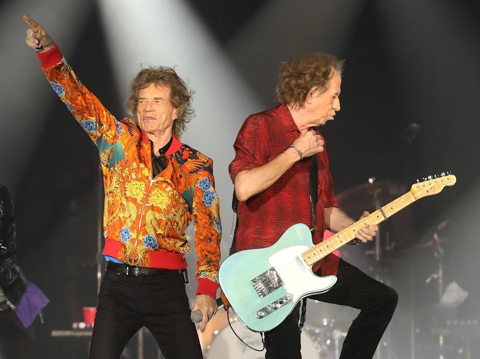 EAST RUTHERFORD, NEW JERSEY - AUGUST 05: Mick Jagger and Keith Richards of The Rolling Stones perform at MetLife Stadium on August 05, 2019 in East Rutherford, New Jersey. (Photo by Taylor Hill/Getty Images)