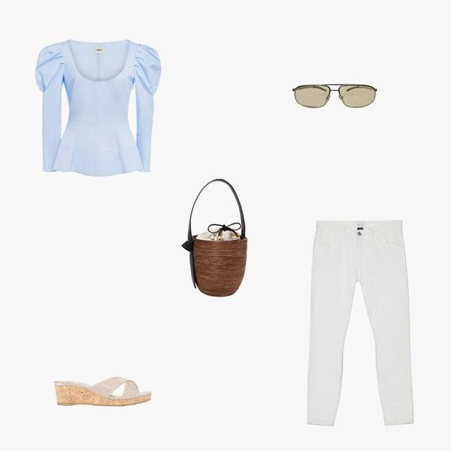 Khaite Nina cotton-poplin corset top, $560, modaoperani.com; Current/Elliott the Stiletto jean, $198, currentelliott.com; Gucci tinted aviator sunglasses, $165, kennedynewyork.com; Cesta Collective lunchpail leather-trimmed woven sisal bucket bag, $375, net-a-porter.com; Jimmy Choo Almer 50 leather slides, $475, mytheresa.com