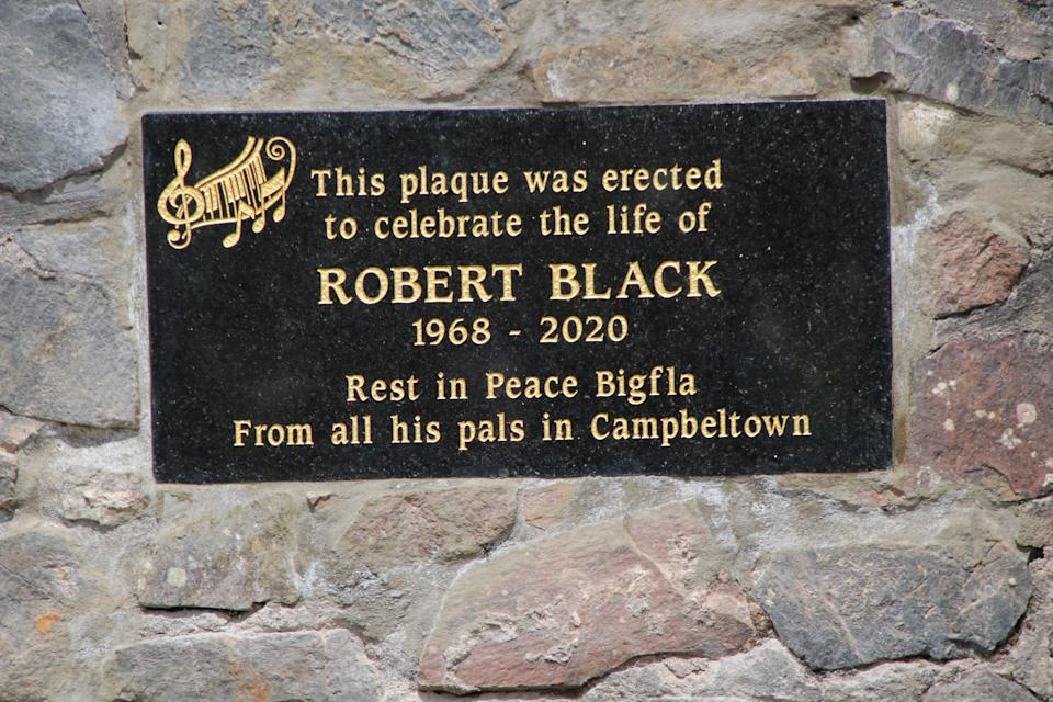 A memorial bench and plaque has also been placed at the site for people to remember Robert Black