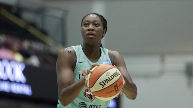 New York Liberty center Tina Charles shoots a free throw during the first half of a WNBA basketball game, Tuesday, Aug. 13, 2019, in White Plains, N.Y. (AP Photo/Kathy Willens)
