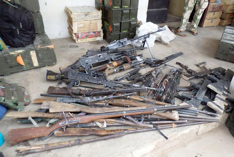 Handout picture from Nigerian military on February 26, 2015, shows a cache of weapons recovered from Boko Haram terrorists after dismantling their camp along Djimitillo Damaturu road, Yobe State in northeastern Nigeria (AFP Photo/)