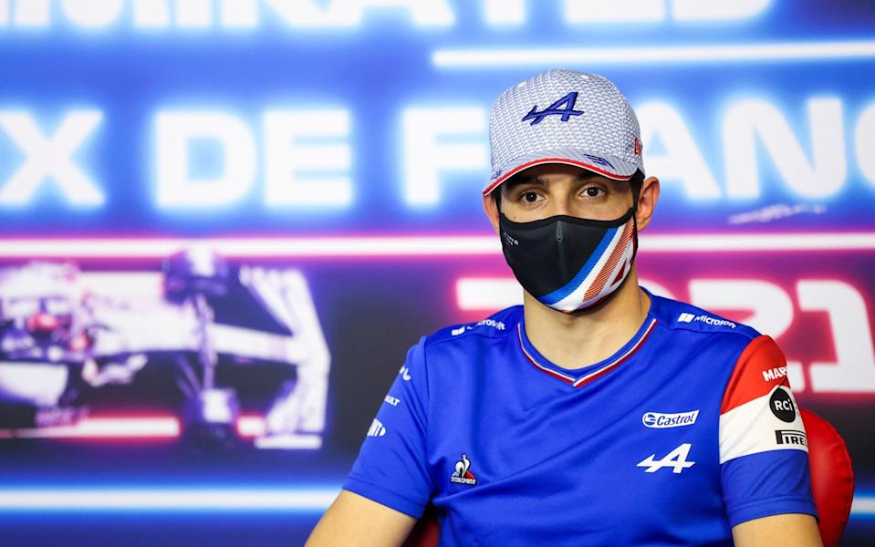 Esteban Ocon of France and Alpine F1 Team talks in the Drivers Press Conference during previews ahead of the F1 Grand Prix of France at Circuit Paul Ricard on June 17, 2021 in Le Castellet, France - Photo by Antonin Vincent - Pool/Getty Images