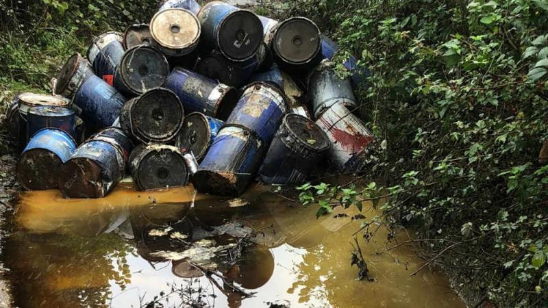 Fly-tippers threaten water supply with dumped paint drums